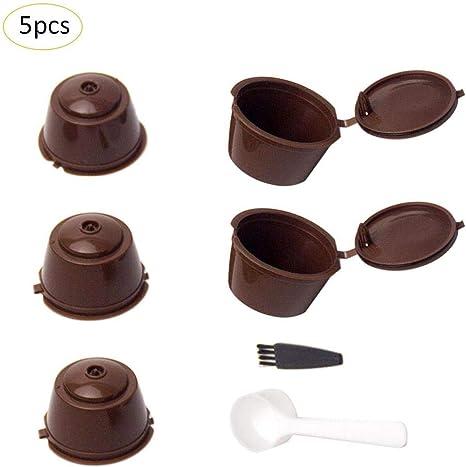 Rlorie Combinaci/ón de Taza de Filtro de caf/é de c/ápsula 5 Juegos Taza de Filtro de caf/é con Cuchara Cepillo para Dolce Gusto Fashion