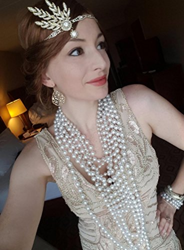 BABEYOND Art Deco 1920's Flapper Great Gatsby Inspired Leaf Medallion Pearl Headpiece Headband Gold