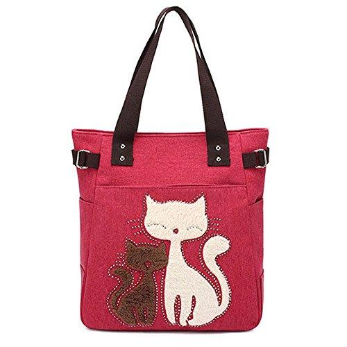 con tote Marrón Bolso bordado gato Rojo de 06yqqHU