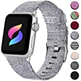 Haveda Band Compatible with Apple Watch 38mm 40mm, Dressy Soft Woven Fabric Canvas Sport Wristband Replacement for iWatch Bands Series 4 Series 3/2/1, Women Men Kids (Light Gray)