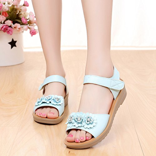 sandali di spiaggia studente principesse collane scarpe HBDLH estate i blue fiori di scarpe Ew4nxqatFI