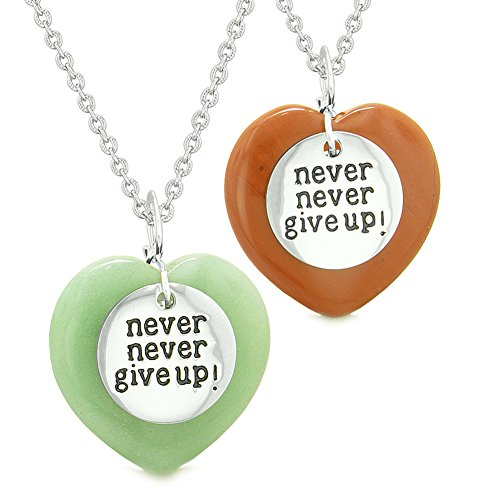 - Amulets Never Give Up Love Couples or Best Friends Magic Puffy Hearts Red Jasper Green Quartz Necklaces