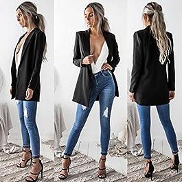 Besooly Women Jacket Coat Outwear Long Sleeve Cardigan Casual Blazer Suit Windbreaker Long Overcoat Business Suit