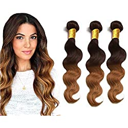 "BODY WAVE Brazilian 3 Bundle Pack GREAT DEAL Wavy Hair Weave Extensions 100% Human Hair GUARANTEED Two Tone #4/#30 Color -22""24""26"""