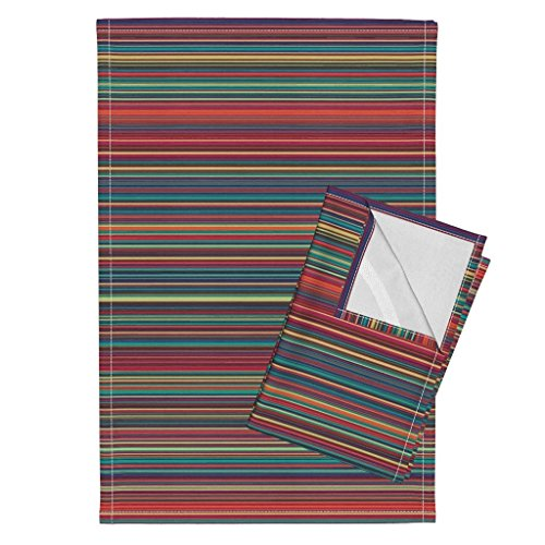 Roostery Stripe Tea Towels Jewel Mini Stripe Horizontal Pin Stripe Lines Fall Horizontal Jewel Tones Retro Sfaut15 by Peacoquettedesigns Set of 2 Linen Cotton Tea Towels