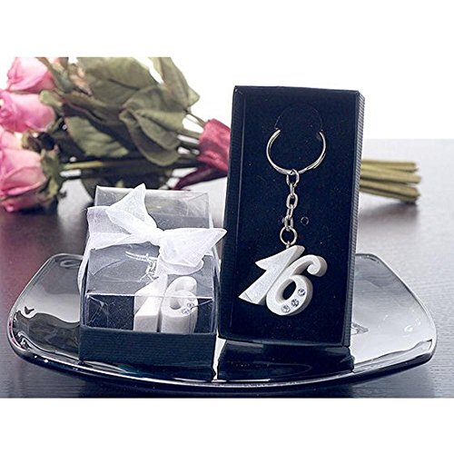 Sweet 16 Keychain Favors - Cassiani Sweet 16 Keychain with Stones in Pearl White - 24 Pieces