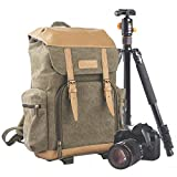 TARION M-02 Canvas Camera Backpack Water-Repellent Camera Bag for DSLR SLR Mirrorless Cameras & Accessories – Colour Green