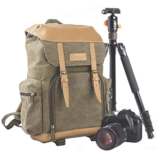 TARION M-02 Canvas Camera Backpack Water-Repellent Camera Bag for DSLR SLR Mirrorless Cameras & Accessories - Colour ()