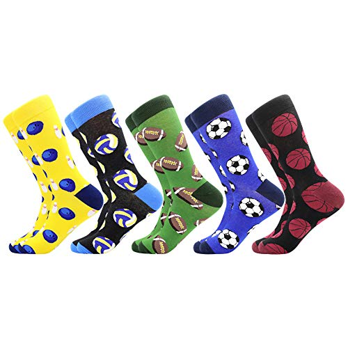 Men's Funny Dress Socks ,Fun Colorful Socks ,Crazy Novelty Funky Cool Cute Design Printed Crew Socks ,Casual Socks