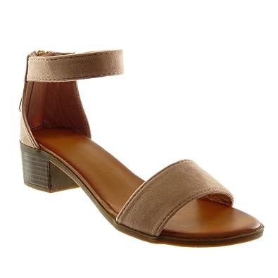 880467d717 Angkorly - Chaussure Mode Sandale lanière Cheville Femme Pom-Pom Frange lanière  Talon Haut Bloc