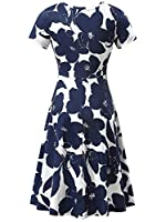 HUHOT Women Short Sleeve Round Neck Summer Casual Flared Midi Dress