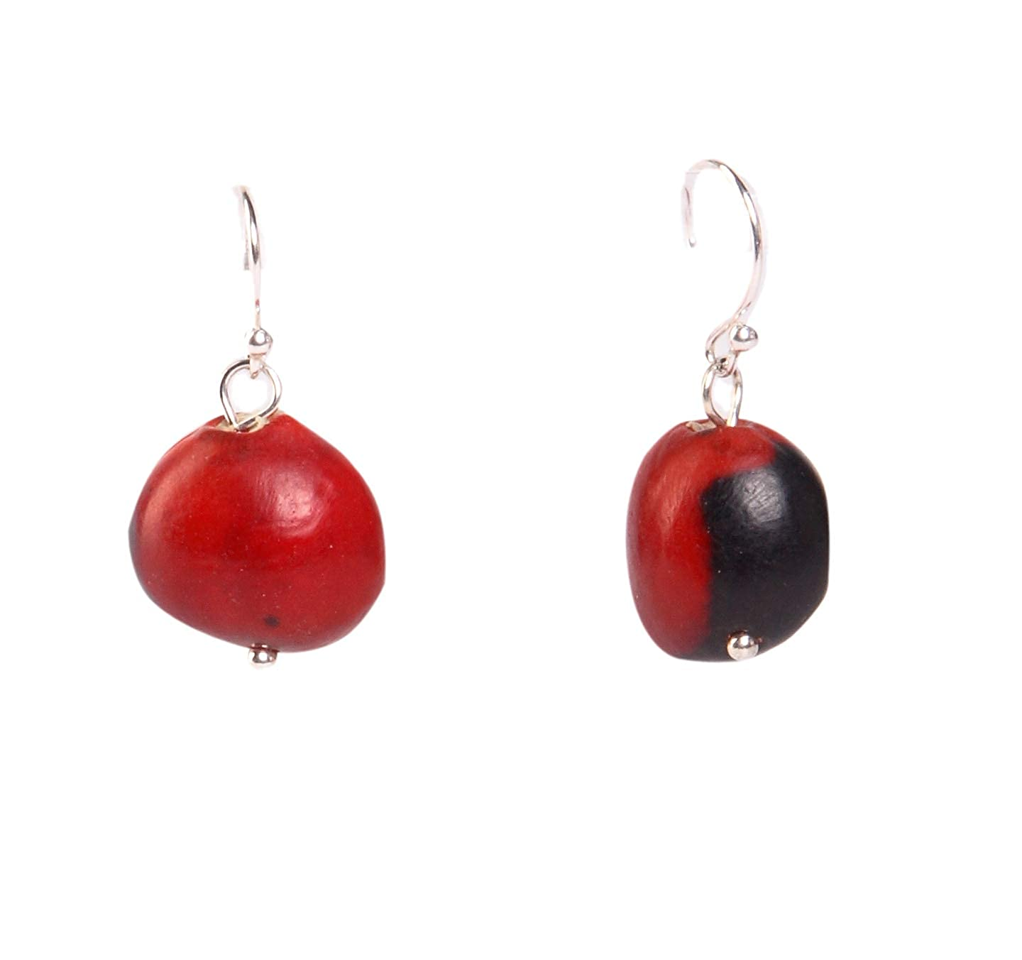 Dangle Earrings For Women Made With Red & Black Natural Huayruro Seed 12mm Beads by Evelyn Brooks Evelyn Brooks Designs E5023