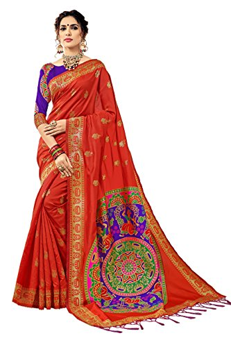 New Urban India Women's Banarasi Silk Jacquard Saree Free Size Orange Saree 15