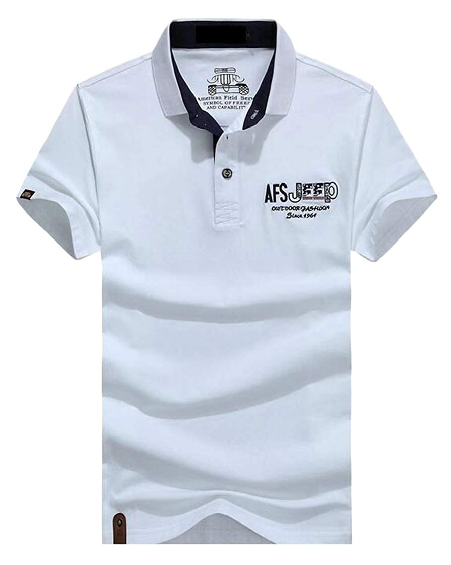 YYear Mens Stylish Cotton Short Sleeve Solid Color Lapel Polo Shirts
