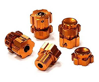 Integy Hobby RC Model T4133ORANGE Billet Machined Wheel 17mm Hex Adapter(4) +3mm Offset for 1/10 E-Revo & Revo 3.3