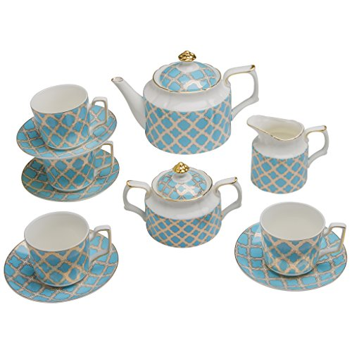 Grace Teapot Set - Grace Teaware 11-Piece Porcelain Tea Set (Debra)