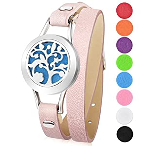 Essential Oil Diffuser Bracelet Aromatherapy Stainless Steel Locket Leather Band Bracelets with 8 Color Cotton Pads, Elegant Gift Box