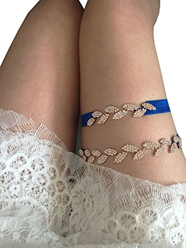 Bling wedding garter set stretchable legs garters leaf style P08 (Gold in royal blue band) by Lemandy
