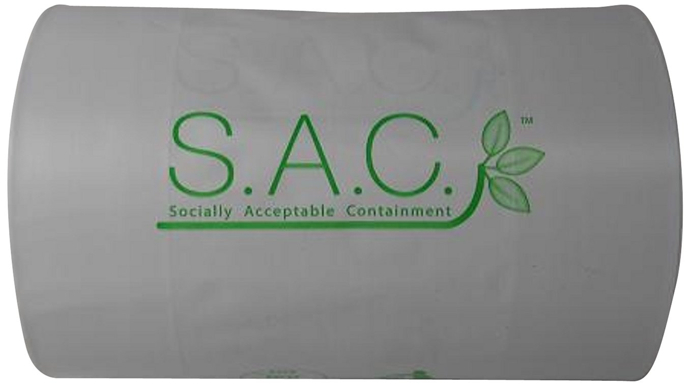 S.A.C SR9010-10 Plastic Sanitary Napkin Degradable Replacement Disposal Bag, 9'' Length x 4-1/2'' Width (Case of 10)