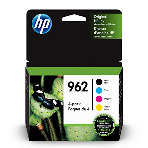 HP 962 | 4 Ink Cartridges| Black, Cyan, Magenta, Yellow | 3HZ99AN, 3HZ96AN, 3HZ97AN, 3HZ98AN
