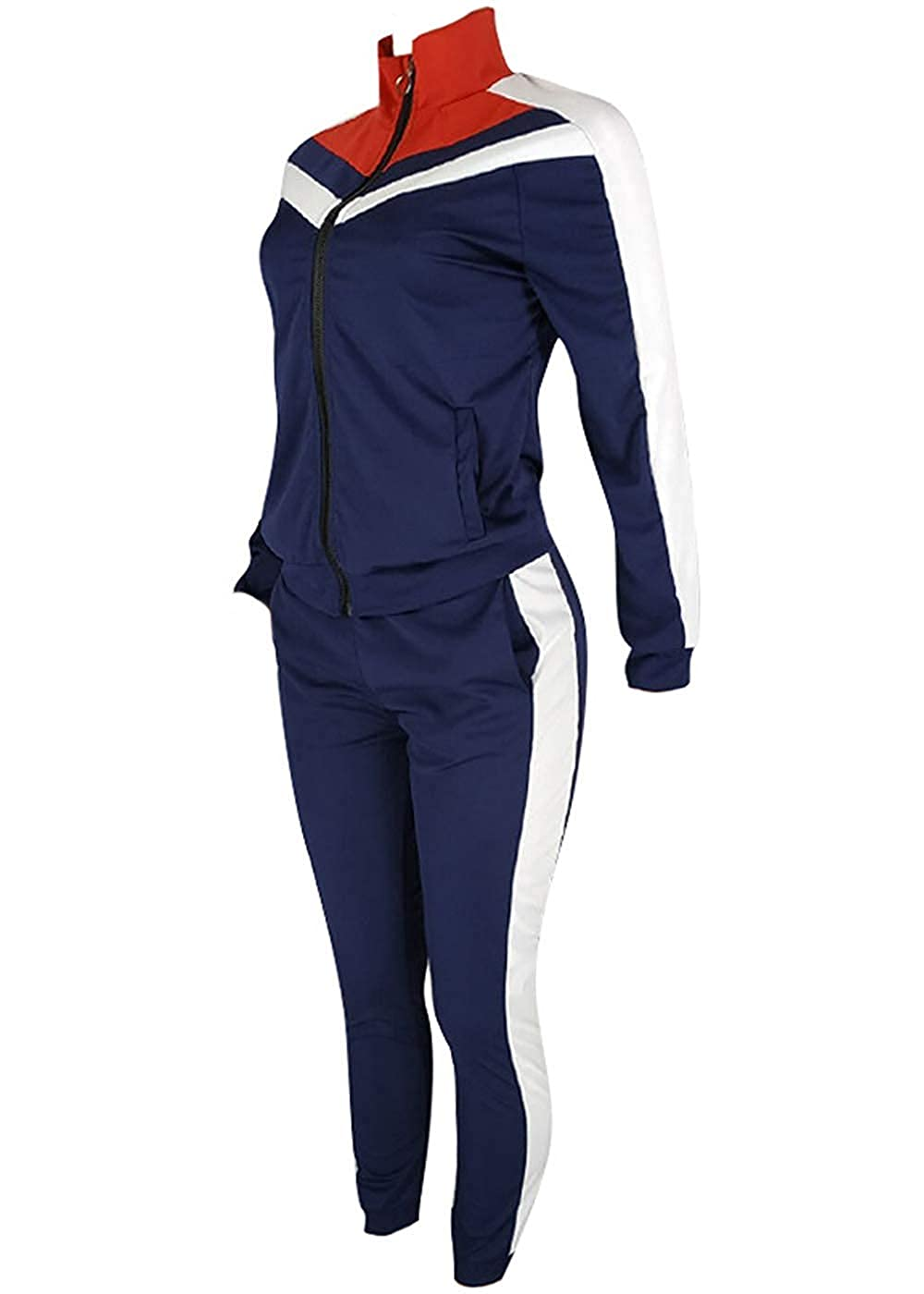 Hanglin Trade Womens Tracksuits 2 Piece Outfits Jacket Long Sleeve Jogger Suit Pants Set Sweatsuits
