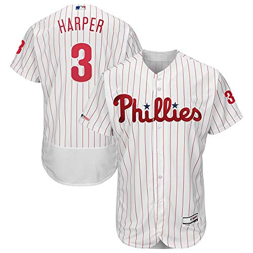 Mitchell & Ness #3 Bryce Harper Philadelphia Phillies Home Flex Base Authentic Collection Player Jersey - White XL