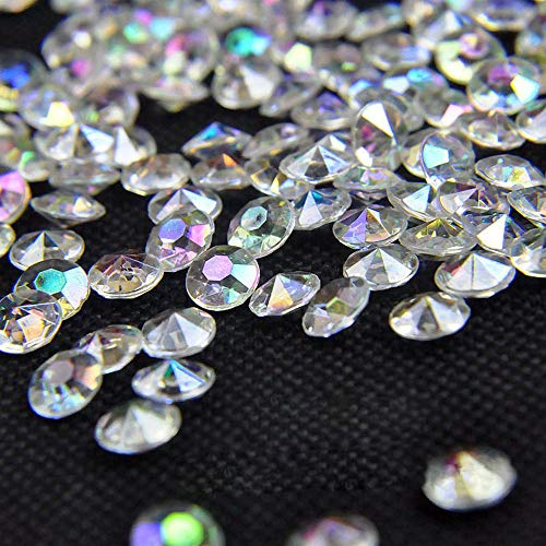 craftjoje 12MM 1000pcs Wedding Table Scattering Crystals Acrylic Diamonds Wedding Bridal Shower Party Decorations Vase Fillers (12mm, Colorful Transparent)
