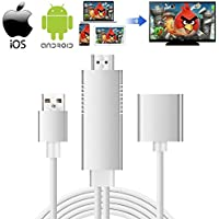 Lightning to HDMI Cable, 3-in-1 Lightning/Micro USB/Type-C to HDMI Adapter 1080P Digital AV Adapter HDTV Cable Support iOS 8.0 and Android 5.0 and Above Smartphones on HDTV Projector
