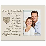 Personalized five year anniversary gift for her him couple Custom Engraved wedding gift for husband wife girlfriend boyfriend photo frame holds 4x6 photo by LifeSong Milestones (Ivory)