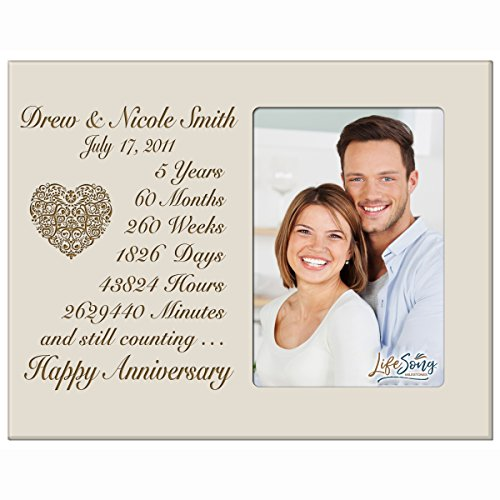 Personalized five year anniversary gift for her him couple Custom Engraved wedding gift for husband wife girlfriend boyfriend photo frame holds 4x6 photo by LifeSong Milestones (Ivory) by LifeSong Milestones