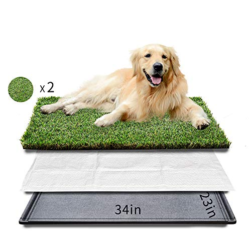 HQ4us Dog grass Large Dog Litter Box Toilet (34'×23'), 2×Artificial Grass for Dogs, Tray ,Pee pad, Realistic, Bite Resistance Turf, Less Stink, Indoor Outdoor pet Potty Training