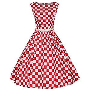 Fit Design Women's 1950s A Line Vintage Dresses Audrey Hepburn Style Floral Party Dress