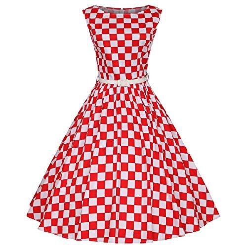 Fit Design Womens 1950s A Line Vintage Dresses Audrey Hepburn Style Floral Party Dress