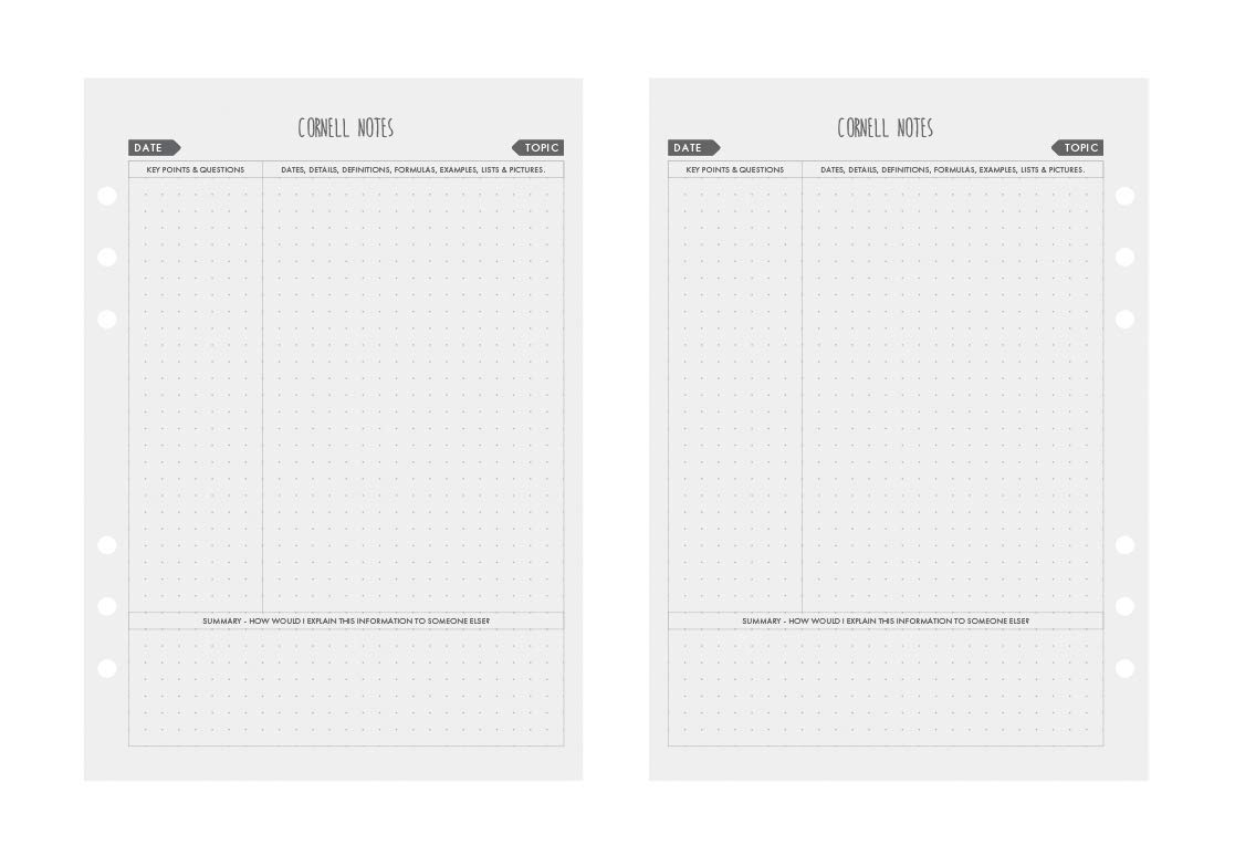 LUX PRO Productivity Planner Refill Packs LUX PRO - 1/_5/_10 Graph Grid - Paper Pages Refill Packs Compatible with A5 Filofax Organisers