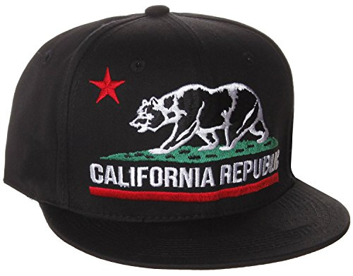 California Republic Vintage Style Flat Bill Snapback Cap Hat - Style California Mens