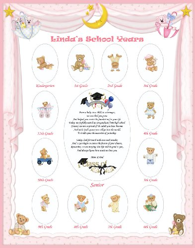 11 X 14 Size Personalized Baby Girl Name Pink Curtain Border My School  Years Picture Photo Mat with Teddy Bear Illustration and Poem Verse As  Birthday