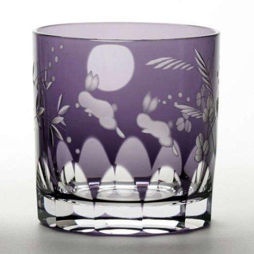 Edo Kiriko glass Japanese Old Pair 6.3oz, Moon and rabbits set of 2