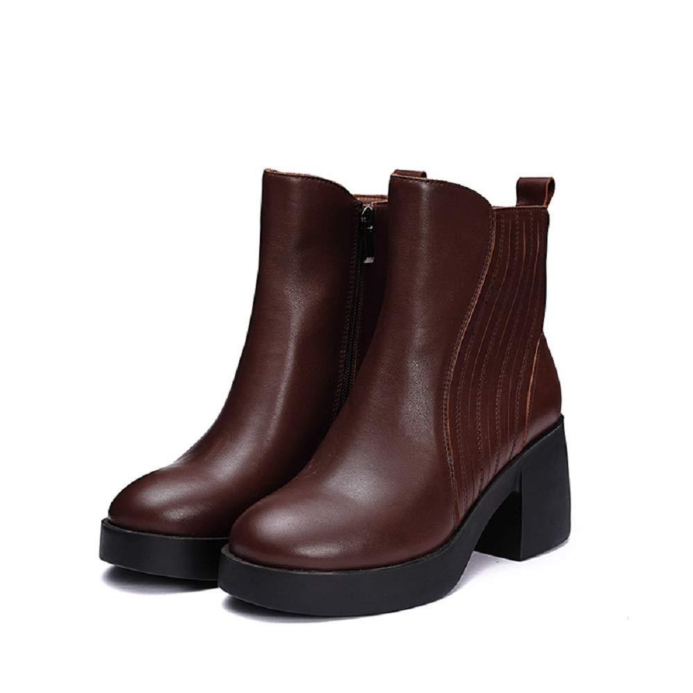 ZHRUI Block Stiefel Damen Reißverschluss Plattform Reißverschluss Damen Lederschuhe (Farbe   Braun, Größe   EU 40) 6ce137