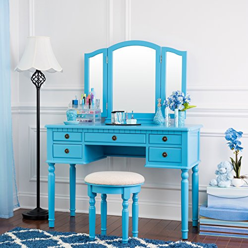 Fineboard FB-VT01-BLV Dressing Stool, Grooming Station, Hair Care and Accessories Table, Three Mirror Vanity Set, 5 Organization Drawers, Blue