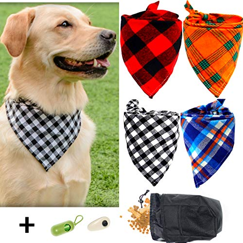 Dog Bandana with Treat Pouch for Training - Pet Accessories Set with 4 Triangle Pet Scarfs Waste Poop Bag Dispenser and Training Clicker - Premium Cotton Plaid Bandanas Washable Bibs for Puppy Dogs