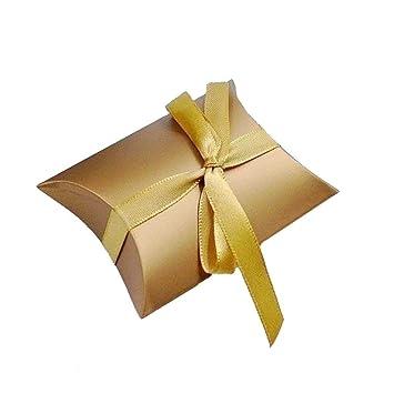 JZK® 50 x Almohada de Oro, fiesta Boda favor Cajas caja de regalo Para