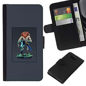 YiPhone /// Tirón de la caja Cartera de cuero con ranuras para tarjetas - Guerrero Vikingo - Samsung ALPHA G850