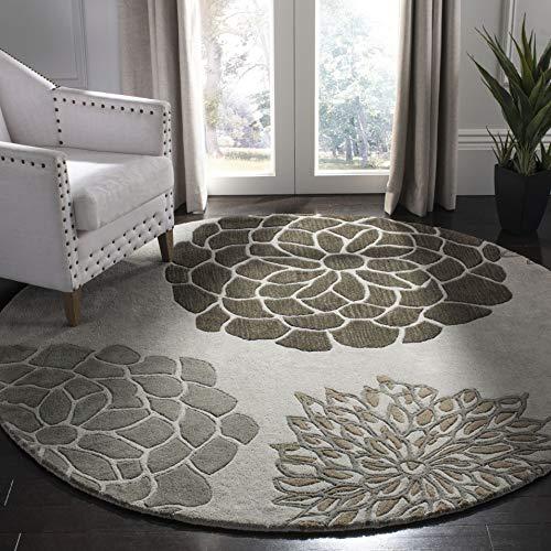 - Safavieh Soho Collection SOH211A Handmade Light Grey Premium Wool Round Area Rug (8' Diameter)