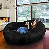 Gigantic Bean Bag Chair in Limo Black with Memory Foam Filling and Machine Washable Velour Cover- Comfortable Cozy Lounge Sack to Chill - Huge Bed, Large Sofa, Cozy Lounger - Kids, Adults & Teens