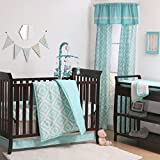 Teal Blue Diamond Tile Print 3 Piece Baby Crib Bedding Set by The Peanut Shell