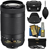 Nikon 70-300mm f/4.5-6.3G VR DX AF-P ED Zoom-Nikkor Lens with Case + 3 Filters + Hood + Kit for D3300, D3400, D5500, D7100, D7200 Cameras