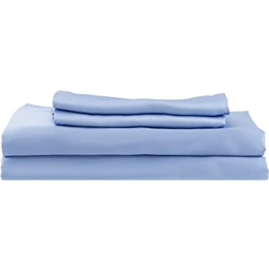 HotelSheetsDirect 100% Bamboo Bed Sheet Set, Cooling Sheets, Moisture Wicking, Great for Hot Sleepers, Softer Than Silk (Queen, Light Blue)