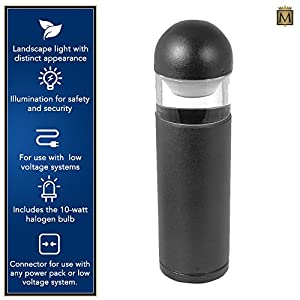 Moonrays Low Voltage Metal Outdoor Path Lights With 10-Watt Halogen Bulb (Bollard-Style, Die Cut Aluminum With Black Finish)