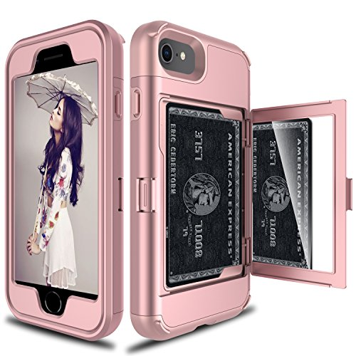 Elegant Choise Compatible with iPhone 8 Case, iPhone 7 Wallet Case, Elegant Choise Wallet Case Hidden Back Mirror Card Holder Heavy Duty Shockproof Defender Protective Case Cover (Pink)