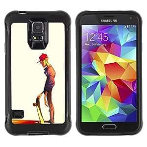LASTONE PHONE CASE / Suave Silicona Caso Carcasa de Caucho Funda para Samsung Galaxy S5 SM-G900 / Skateboard Dude Art Street Style Boy Hat
